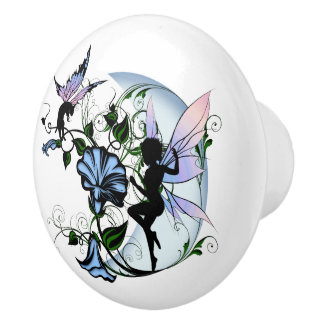 Morning Glory Shadow Fairy and Cosmic Cat Ceramic Knob