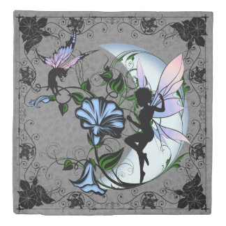 Morning Glory Shadow Fairy and Cosmic Cat Duvet Cover