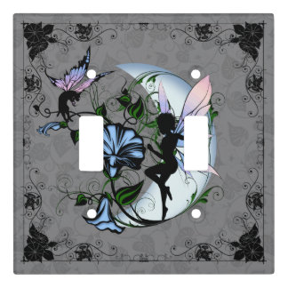 Morning Glory Shadow Fairy and Cosmic Cat Light Switch Cover
