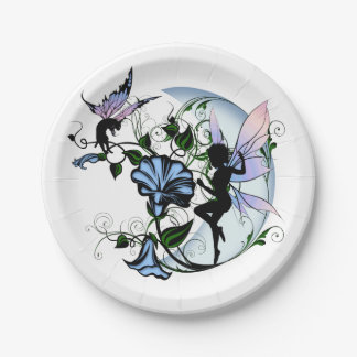 Morning Glory Shadow Fairy and Cosmic Cat Paper Plate