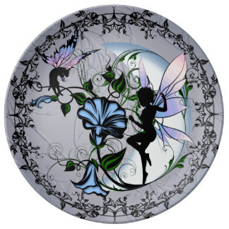 Morning Glory Shadow Fairy and Cosmic Cat Plate