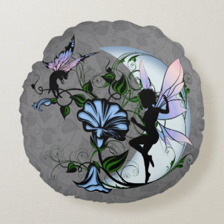 Morning Glory Shadow Fairy and Cosmic Cat Round Pillow