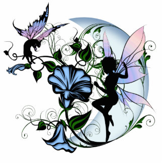 Morning Glory Shadow Fairy and Cosmic Cat Standing Photo Sculpture
