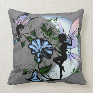 Morning Glory Shadow Fairy and Cosmic Cat Throw Pillow