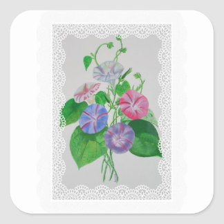 Morning Glory Vintage Bouquet Square Sticker