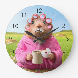 Morning Groundhog with Breakfast Donut and Coffee Large Clock