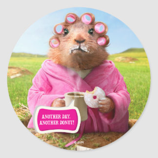 Morning Groundhog with Breakfast Donut and Coffee Round Sticker