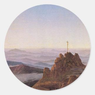 Morning in Riesengebirge - Caspar David Friedrich Classic Round Sticker