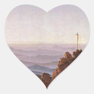 Morning in Riesengebirge - Caspar David Friedrich Heart Sticker