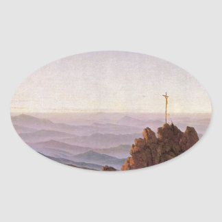 Morning in Riesengebirge - Caspar David Friedrich Oval Sticker