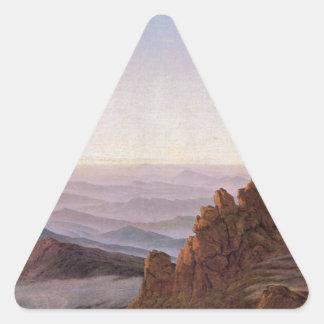 Morning in Riesengebirge - Caspar David Friedrich Triangle Sticker