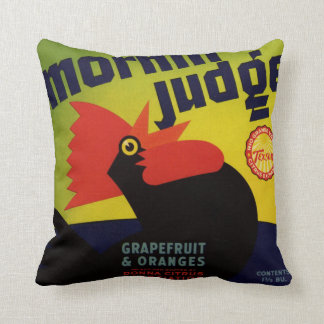 Morning Judge Grapefruit Crate Label Throw Pillow
