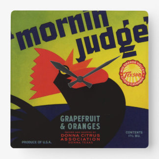 Morning Judge Orange Crate Label Square Wall Clock