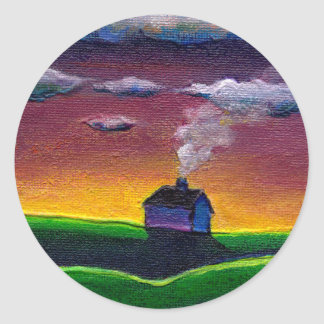 Morning landscape new year colorful original art classic round sticker