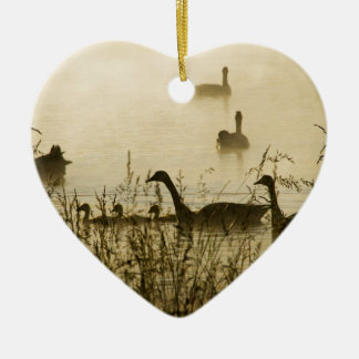 Morning Light Canadian Geese Pond Silhouette Ceramic Heart Ornament