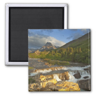 Morning light greets Swiftcurrent Falls in the Square Magnet