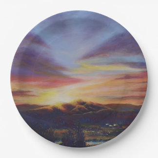 Morning Light in CHB Sunrise Painting 9 Inch Paper Plate