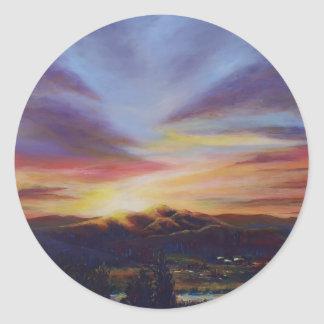 Morning light, sunrise over the hills classic round sticker
