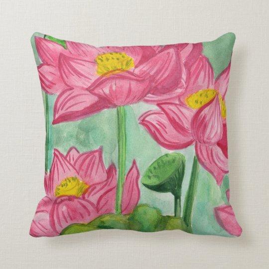 morning Lotus Throw Pillow