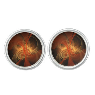 Morning Magic Abstract Art Silver Plated Cuff Links