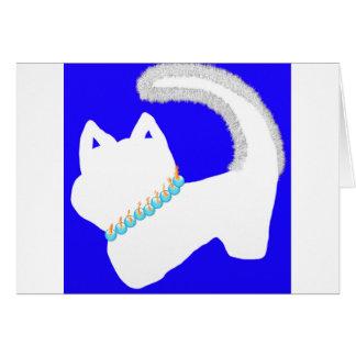 Morning Menorah Hanukkah card with white cat