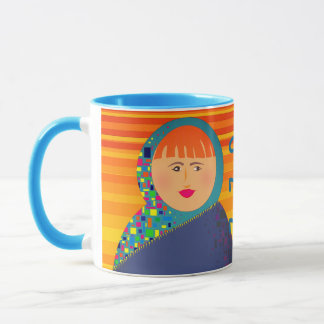 Morning Michelle Yellow Stripes Girl Face Bright Mug