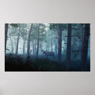 Morning Moose Poster