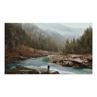 Morning Mountain Fog by the Creek Poster