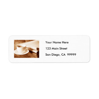 Morning News and Coffee Sepia Tone Return Address Label