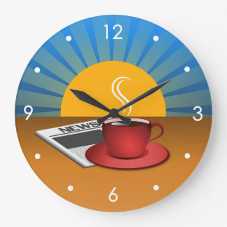 Morning News Coffee Cup Cafe Large Round Clock