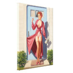 Morning Newspaper Pin-Up Girl Stretched Canvas Prints