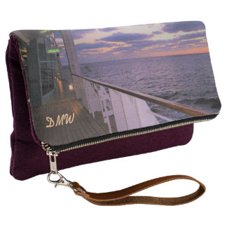 Morning on Deck Monogrammed Clutch