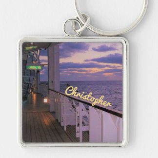 Morning on Deck Personalized Silver-Colored Square Keychain
