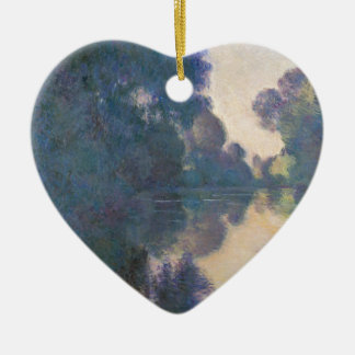 Morning on the Seine near Giverny - Claude Monet.j Ceramic Heart Ornament