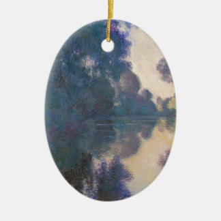 Morning on the Seine near Giverny - Claude Monet.j Ceramic Oval Ornament
