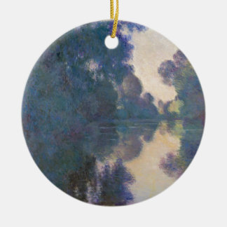 Morning on the Seine near Giverny - Claude Monet.j Round Ceramic Ornament