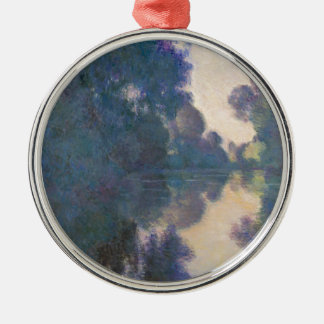 Morning on the Seine near Giverny - Claude Monet.j Silver-Colored Round Ornament