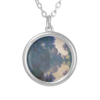 Morning on the Seine near Giverny - Claude Monet.j Silver Plated Necklace