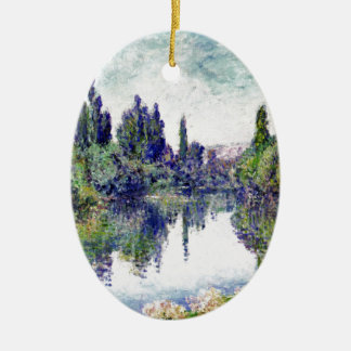 Morning on the Seine, near Vetheuil - Claude Monet Ceramic Oval Ornament