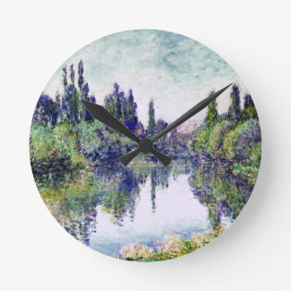 Morning on the Seine, near Vetheuil - Claude Monet Round Clock
