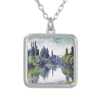 Morning on the Seine, near Vetheuil - Claude Monet Silver Plated Necklace
