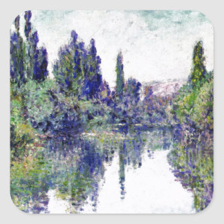 Morning on the Seine, near Vetheuil - Claude Monet Square Sticker