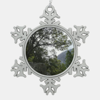 Morning on the Trail to Vernal Falls in Yosemite Snowflake Pewter Christmas Ornament
