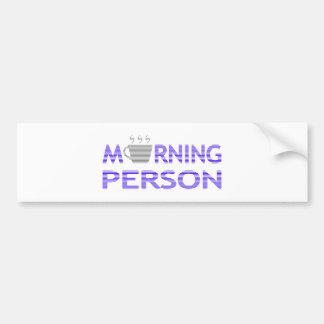 MORNING PERSON - strips - blue and gray. Bumper Sticker