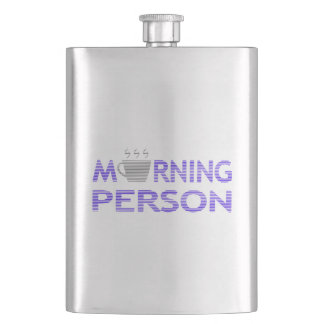 MORNING PERSON - strips - blue and gray. Hip Flask