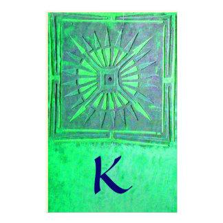 MORNING STAR MONOGRAM , green blue Stationery