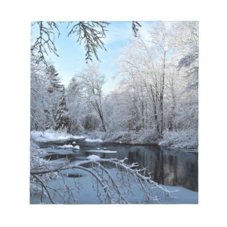 Morning Sun on Snow Covered Sheepscot River Notepad