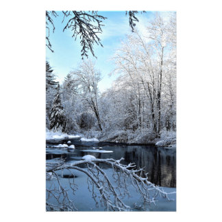 Morning Sun on Snow Covered Sheepscot River Stationery