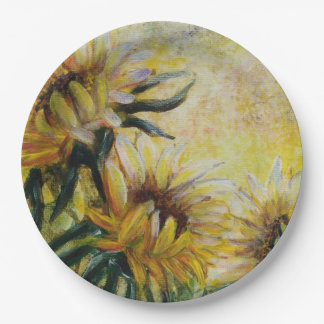 Morning sunflowers painting 9 inch paper plate