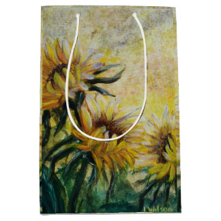 Morning sunflowers painting medium gift bag